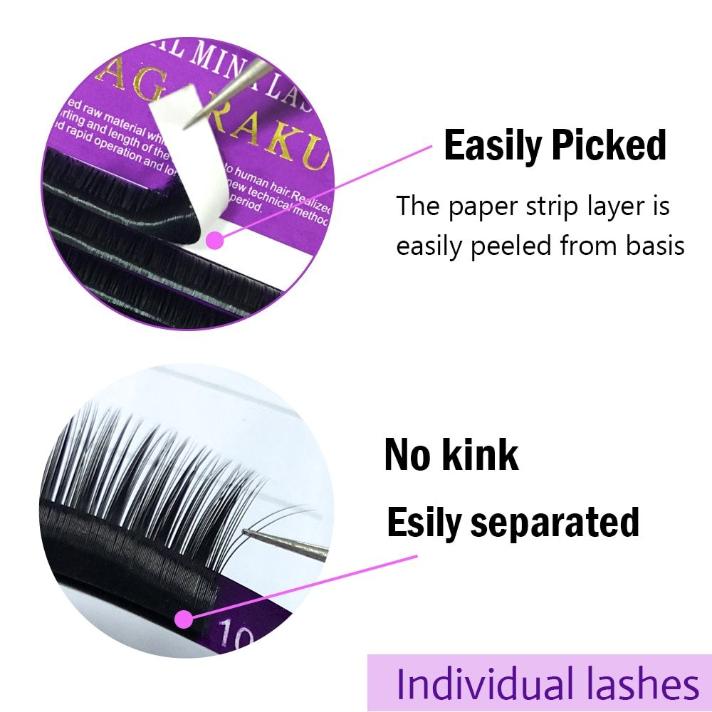 NAGARAKU 16Rows Faux mink individual eyelash extension cilia lashes  extension for professionals soft mink eyelash extension