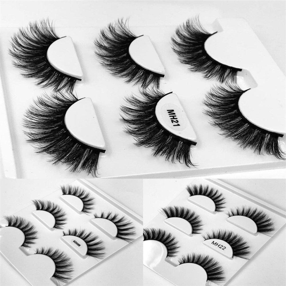 94997dc1e77 HBZGTLAD 3 pairs natural false eyelashes fake lashes long makeup 3d mink  lashes eyelash extension mink eyelashes for beauty