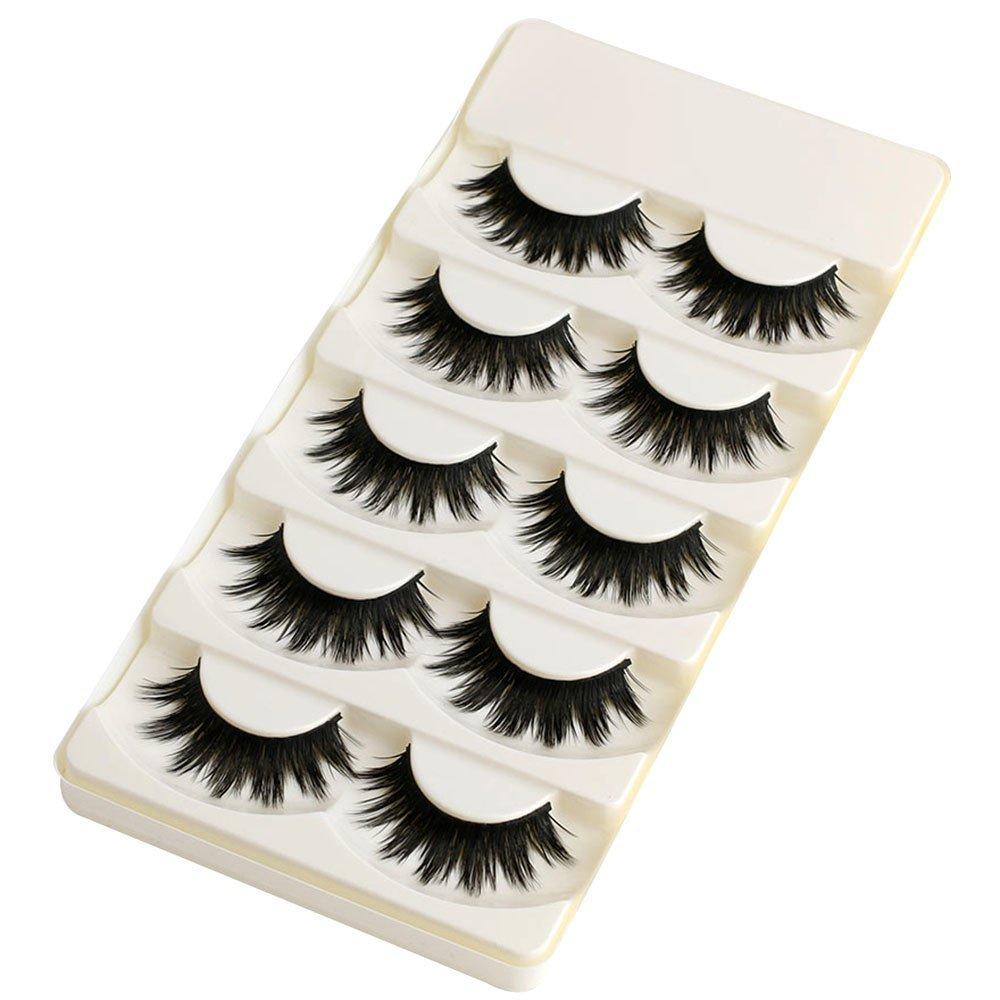 b988d584422 5 Pairs Soft Long Makeup Cross Thick False Eyelashes Natural Handmade Eye  Lashes Extension Make Up Beauty Tools